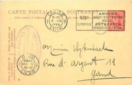 Belgique. CP 62  Liège > Gent  Flamme J.O. D'Anvers 1920 - Stamped Stationery