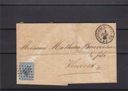 N° 18 / Lettre De GAND FAUBOURG DE BRUGES Vers Verviers ( Lac ) - 1865-1866 Profile Left