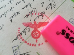 Cachet Croix Gammée Symbole Régime Nazi Sur Carte Postale Envoyée De Obererl... En Belgique Militaria Guerre - 1939-45