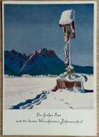 Alte AK Weihnachten Künstler Karte Signiert, Winterlandschaft, Schnee, Berge, Jesus Am Kreuz - Illustrateurs & Photographes