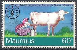 Maurizius, 1974 FAO, Bos Primigenius Taurus, 60c  # S.G. 472 - Michel 400 - Scott 408  USED - Mauritius (1968-...)