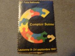 VIGNETTE  SUISSE LAUSANNE FOIRE NATIONAL 1961 - Vignettes De Fantaisie