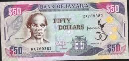 JAMAICA P89  50 DOLLARS 6.8.2012 #RX Signature 12  Issued 2012    UNC. - Jamaica