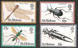 Sainte-Hélène 1982 N° 351 / 4 ** Insecte, Coléoptère, Libellule, Aplothorax, Guêpe émeraude Perce-oreille Espèce éteinte - St. Helena