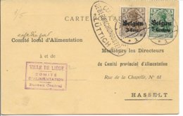 Briefkaart Van Comité Local D'Alimentation Liège Naar Hasselt, - Guerre 14-18