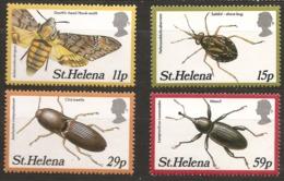 Sainte-Hélène 1983 N° 373 / 6 ** Insectes, Coléoptères, Sphinx Tête De Mort, Papillon, Helena Saldula Aberrans Anchastus - Sainte-Hélène