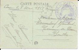 CALVADOS 14  - CAEN -   PYROTECHNIE MILITAIRE DE CAEN  -  1918 -  2 CERCLES VIOLET R.A. - BELLE FRAPPE - Guerre De 1914-18