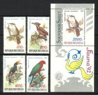 INDONESIA 1992 BIRDS  SET & MS  MNH - Uccelli