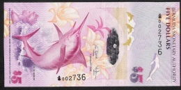 BERMUDA P58a  5  DOLLARS   2009 Prefix:Onion  #002736  Signature 35  UNC. - Bermudas