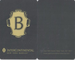 InterContinental New York Barclay - 1793-key Card, Room Key, Schlusselkarte, Hotelkarte - Hotelkarten