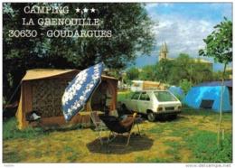 """Carte Postale 30. Goudargues  Camping """"La Grenouille"""" Peugeot 104 Trés Beau Plan - Unclassified"""