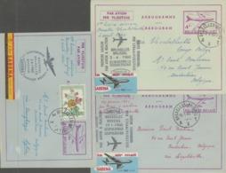 Aérogramme;7 Stuks Eerste Dag Vluchten Naar Verschillende Bestemmingen + 1 Brief Met Nacht Vlucht +2 Helikopter Vlucht - Stamped Stationery