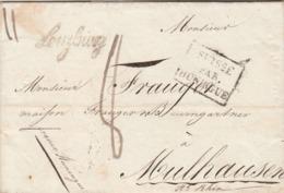 Lettre Marque Postale Cursive LENZBURG Taxe Manuscrite Cachet SUISSE Par HUNINGUE à Mulhouse France Verso PP Port Payé - Zwitserland