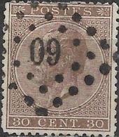 BELGIUM 1865 King Leopold I - 30c - Brown FU - 1865-1866 Profile Left