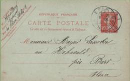 Entier Sur CP Type SEMEUSE 10c Rouge EPINAL Avec C à D Pour HoCHWALD 6/08/09 - Postal Stamped Stationery