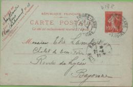 Entier Sur CP Type SEMEUSE 10c RougeTOURS-GARE Avec C à D PourBAYONNE 21/04/11 - Postal Stamped Stationery