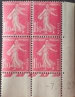 R1615/530 - 1927 - TYPE SEMEUSE - BLOC N°238 TIMBRES NEUFS** CdF Daté - Cote : 135,00 € - Coins Datés