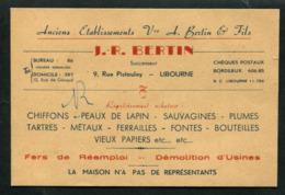 Libourne Carte Commerciale J.R Bertin Achat Peaux De Lapin Plumes Sauvagines Chiffons Etc...... - Cartoncini Da Visita