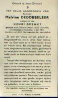 Souvenir Mortuaire DEDOBBELEER Malvine (1906-1961) Zchtg. DESMET, H. Geboren Te SINT PIETERS-LEEUW Overleden Te LEMBEEK - Images Religieuses