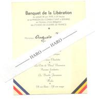 MENU - Maison Du Combattant à SERAING - Banquet De La Libération 1955- Guerre, France (b269) - Menus