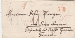 Suisse Lettre LENZBURG 1847 Taxe Manuscrite Cachet Entrée BALE + Marque Passage TB à Eaux Bonnes Basses Pyrénées - Schweiz