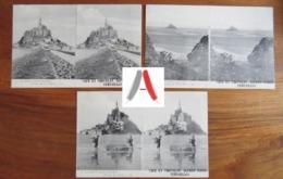 LOT De 3 CPA Stereo Mont Saint Michel - Café Et Chocolat Alfred Marie Versailles - Digue Tombelaine Pêcheurs (Manche) - Le Mont Saint Michel