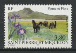 SPM MIQUELON 1998 N° 671 ** Neuf MNH Superbe C 2 € Faune Et Flore Chevaux Horses Flowers Fleurs Iris - Neufs