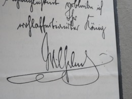 LAS Signée Aux Armes Du Kaiser Totsdam 1888 Autographe  Original Kaiser Guillaume II Wilheim Allemagne Autograph - Autografi