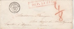 Lettre GUEBWILLER Haut Rhin 12/8/1848 Taxe Manuscrite Cachet DEP LIMIT à Schinznach Suisse Verso Bureau Français Bâle - 1801-1848: Voorlopers XIX