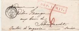 Lettre GUEBWILLER Haut Rhin 21/6/1850 Taxe Cachet DEP LIMIT à Schinznach Suisse Verso Bureau Français Bâle Nach Mittag - Marcofilie (Brieven)