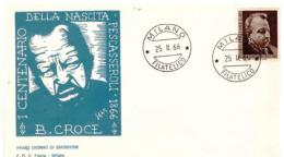 Fdc Flavia: BENEDETTO CROCE 1966; Viaggiata; AF_Milano - 6. 1946-.. Republic