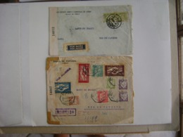PORTUGAL - 2 LETTERS SENT TO RIO DE JANEIRO (BRAZIL) OPENED BY CENSOR IN 1942 IN THE STATE - 1910 - ... Repubblica