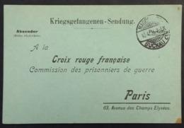 CP Commission Des Prisonniers De Guerre Croix-Rouge Paris Recherche Soldat Allemand Disparu Dans L'Argonne 1915 - Guerre De 1914-18