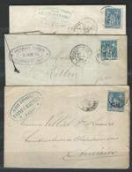 MZ-/-052--  3 LETTRES De 1884/94 , BONNE AFFAIRE - Marcophilie (Lettres)