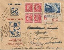 ENVELOPPE  AEROPOSTALE FRANCE TAHITI EN 1948 NON RECLAMEE VOYAGEE ALLER-RETOUR - Poste Aérienne