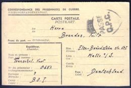 France 1946 / CENSORSHIP, Passe C.P.C.  / Prisoner Of War POW, Prisonniers De Guerre, Kriegsgefangenenpost/ Camp BO. I - France