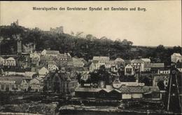 Cp Gerolstein In Der Eifel Rheinland Pfalz, Totalansicht Vom Ort, Sprudelwerke, Burgruine - Duitsland