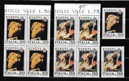1975 Italia Italy Repubblica EUROPA CEPT EUROPE 5 Serie Di 2v. In Quartina + 1 MNH** PITTURA PAINTING - Europa-CEPT