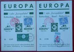1961 M/S EUROPA 1 Jahr Europafahrt Rotterdam Basel HELVETIA Strasbourg Neudorf Lettre Carte TELEGRAAF - Europa-CEPT