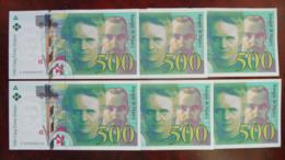 6 X 500 Francs Marie Curie, Neuf, N° Suivi - 500 F 1994-2000 ''Pierre En Marie Curie''