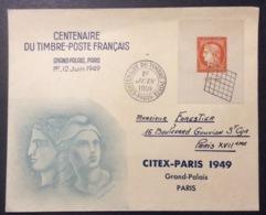 -7 Cérès Barre 841 Centenaire Du Timbre Poste 1/6/1949 FDC Premier Jour Lettre Enveloppe - FDC