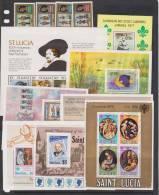St Lucia 1974 - 1979 Miniature Sheet Selection Of 17 Different & 1978 Coronation Set Singles Fine Mint - St.Lucia (...-1978)