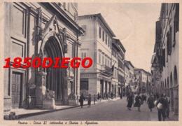 PESARO - CORSO XX SETTEMBRE E CHIESA S. AGOSTINO F/GRANDE VIAGGIATA 1942 ANIMAZIONE - Pesaro
