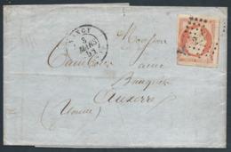 FRANCE 1856 - LAC Avec Timbre Y.T. N°16 - 40 C. Nuance Orange Sur Paille ? - PC 2217 - Cachet Ambulant - TB Etat - Marcophilie (Lettres)