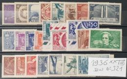 Année Complète 1936 N° 309 à 333 Sans N° 321 Cote: 555,50 € à -17,5% De La Cote  Neuf ** Gomme D'Origine  TTB - France
