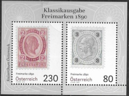 AUSTRIA, 2019, MNH,  STAMP ON STAMP, CLASSIC AUSTRIAN STAMPS , SHEETLET - Briefmarken Auf Briefmarken