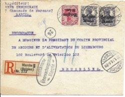 R-brief Van Marche Naar Brussel Met Zegels OC 14 En OC 16 - Guerre 14-18