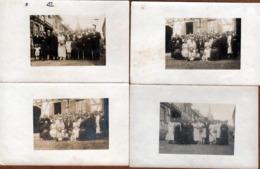 4 Cartes Photos Originales Mariage & Mariés à Identifier Avec Leur Famille Grâce Au Clocher Du Village Vers 1900/10 - Anonymous Persons