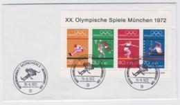 Germany FDC 1972 München Olympic Games Souvenir Sheet - München (G105-24) - Sommer 1972: München