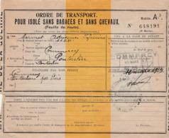 Feuille De Route 1919 / Ordre Transport Isolé Sans Bagage Et Sans Chevaux / Mme Mermet Hôpital Commercy à Pontarlier - 1914-18